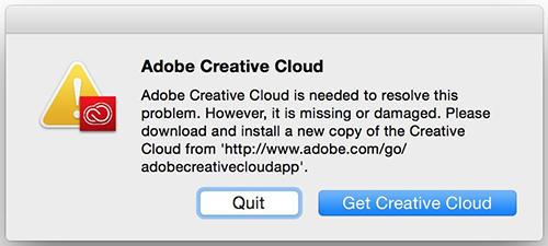 Adobe CC デスクトップアプリケーション警告