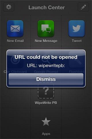 WipeWrite PB Can't boot URL Scheme